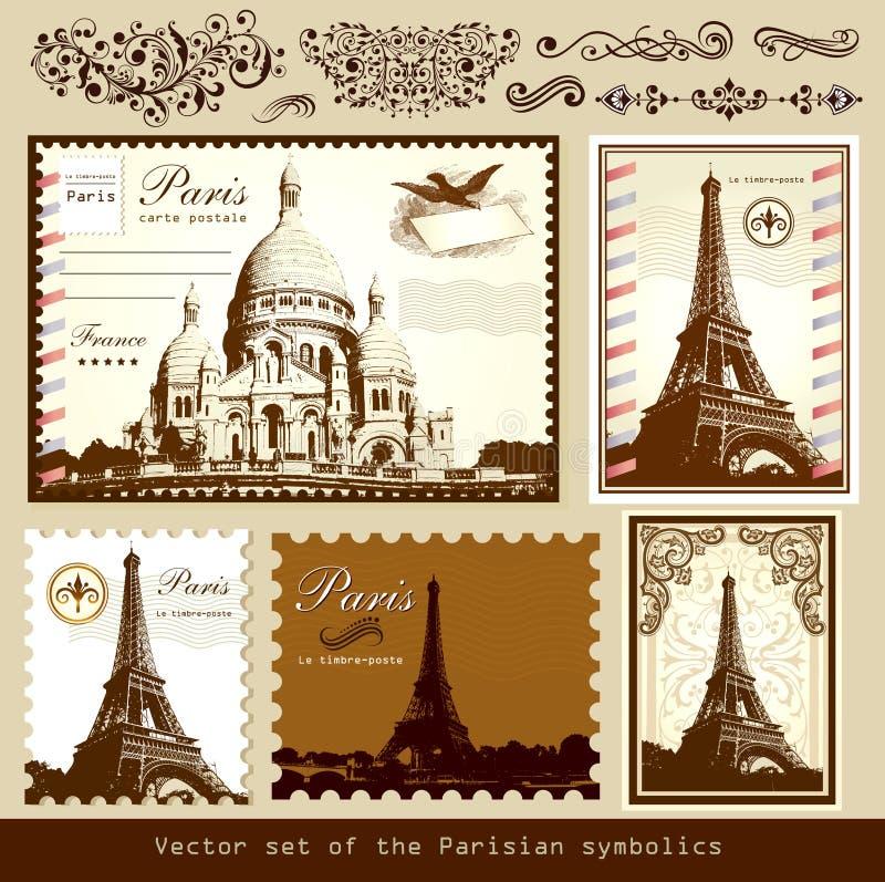 Landmarks och symboler av Paris royaltyfri illustrationer