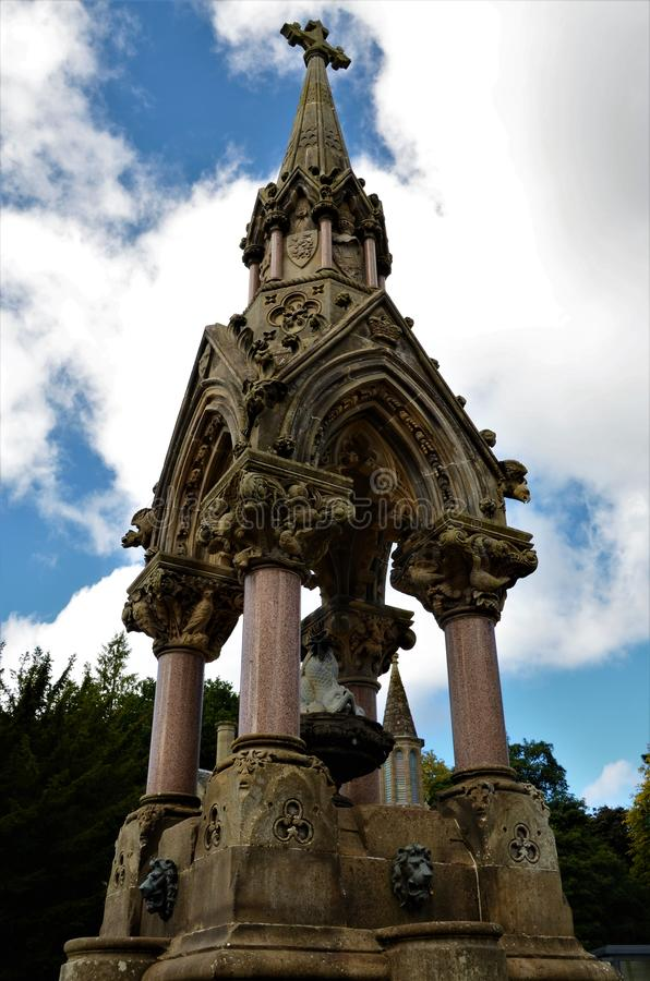 Landmarks of Scotland - Fountain in Dunkeld. A view of an ornate fountain in the Perthshire village of Dunkeld royalty free stock images