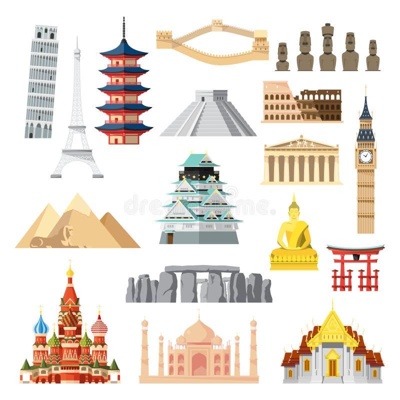 Landmarks set in flat design stock illustration