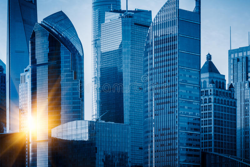 Landmarks of Shanghai,group of modern business buildings royalty free stock photo