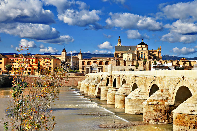 Cordoba bridge. Landmarks of Spain - Cordoba. Andalusia. view with mosque and bridge stock photos