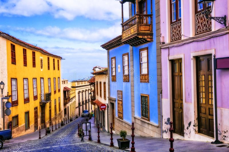 Landmarks of Tenerife - traditional colorful village,La Orotava. Canaray islands of Spain stock photo