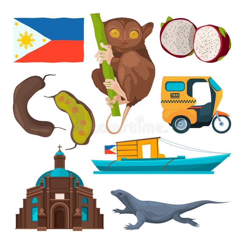 Landmarks and traditional symbols of philippines vector illustration