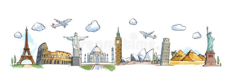 Landmarks. Travel concept with landmarks on a blue background royalty free illustration