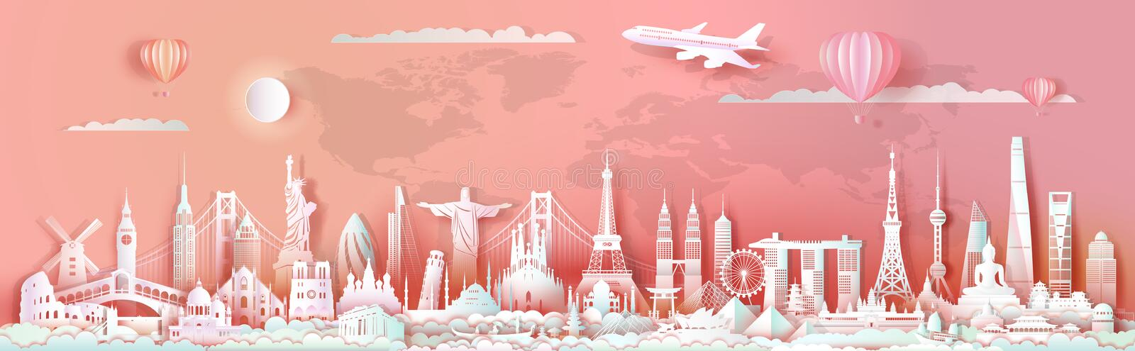 Landmarks of world travel architecture skyscraper ancient and modern culture. Panorama postcard and poster for advertising brochure and business. Travel vector illustration