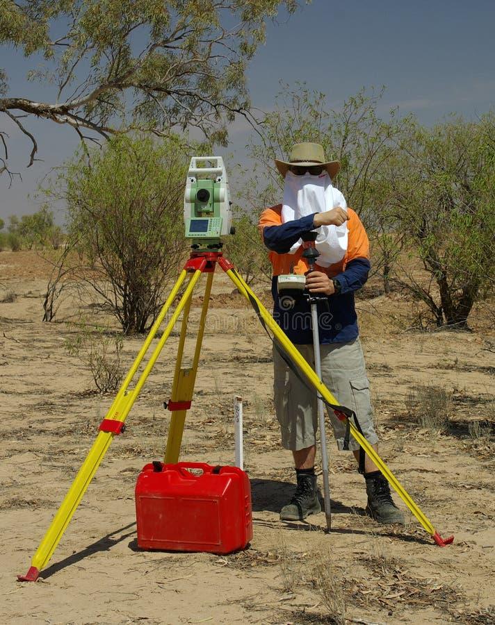 Landmeter in woestijn royalty-vrije stock fotografie