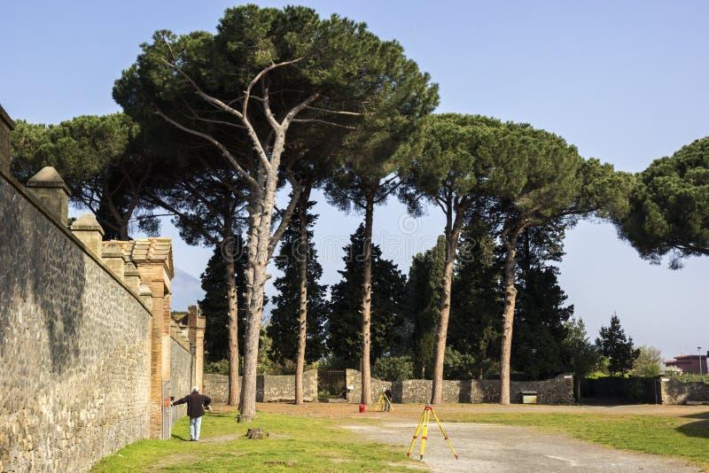 Landmeters bij de ruïnes van Pompei in Italië royalty-vrije stock foto