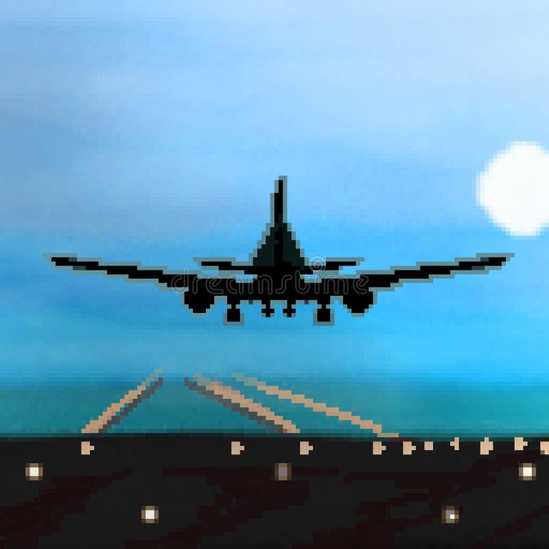 Landning för bit för PIXEL 8 utdragen plan under nattetidflyg stock illustrationer