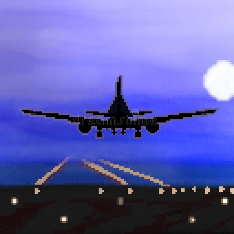 Landning för bit för PIXEL 8 utdragen plan under nattetidflyg vektor illustrationer