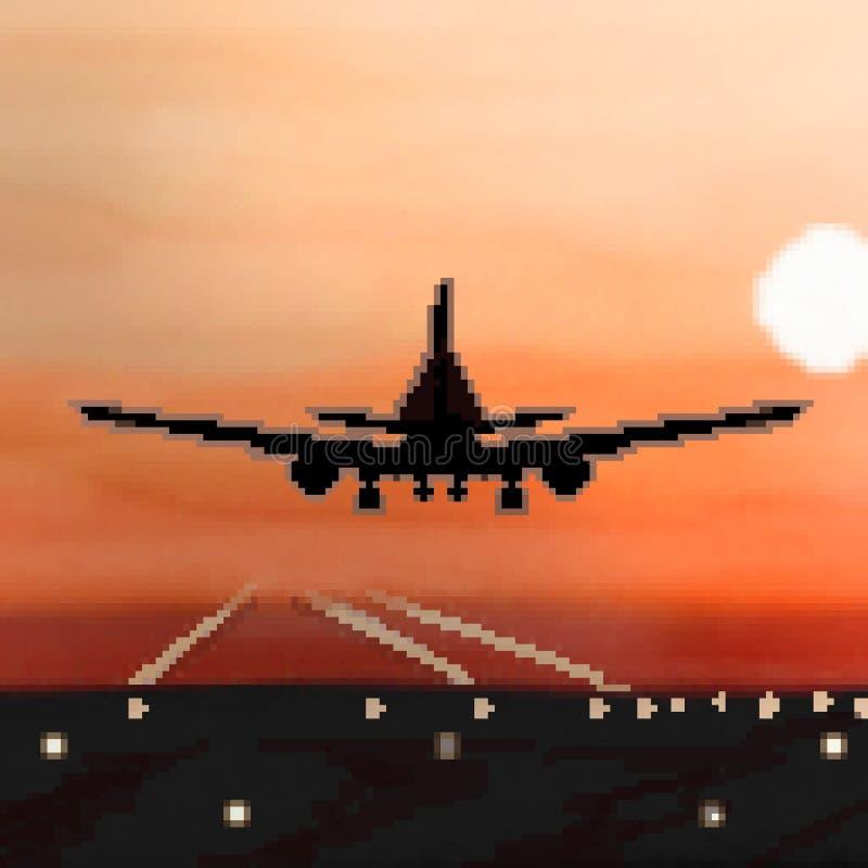 Landning för bit för PIXEL 8 utdragen plan under soluppgångflyg vektor illustrationer