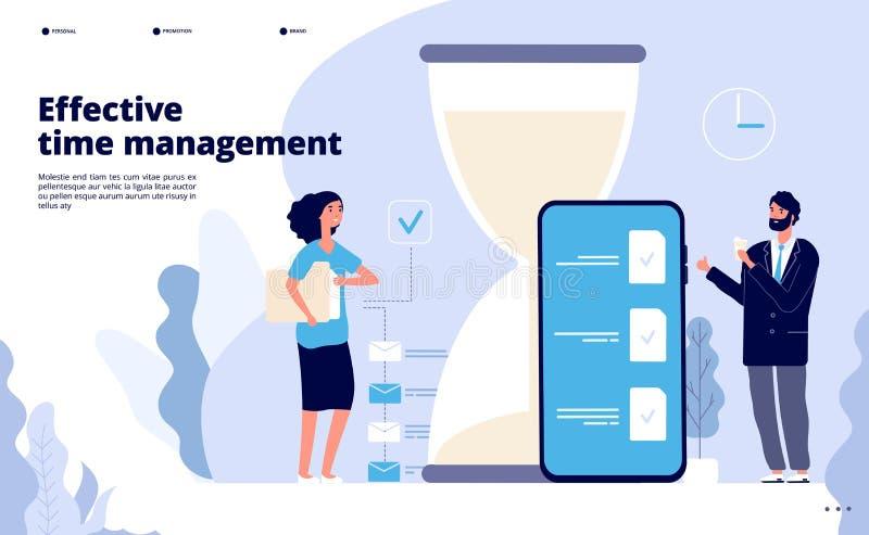 Landning för Tid ledning Effektiv affärsplanläggning, lyckad teamworklösning Kalender perfekt planlagd app royaltyfri illustrationer