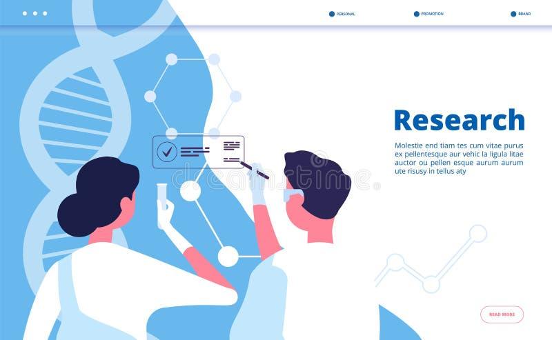 Landning f?r forskninglabb Forskareforskare testar dna i kemiskt laboratorium Farmaceutiskt biokemivektorbegrepp stock illustrationer