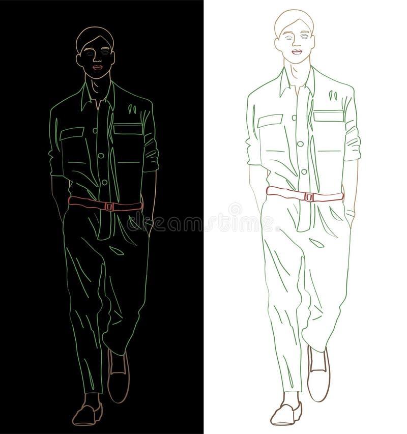 Landningsbana som går på fashionweeken royaltyfri illustrationer