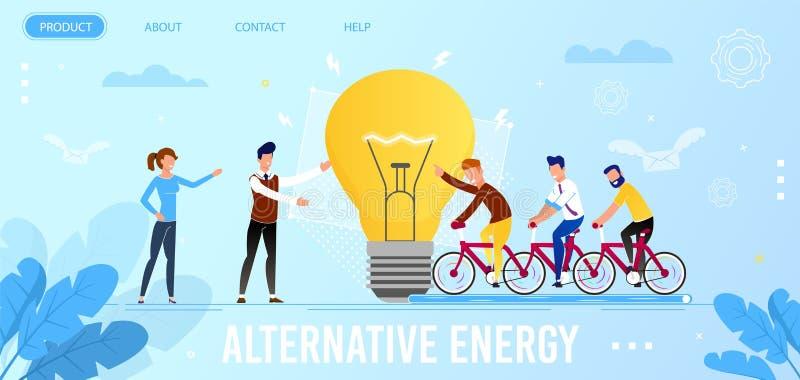 Landningsida som främjar aktionen för alternativ energi stock illustrationer