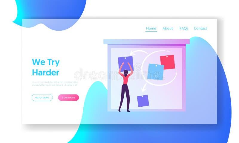 Landningssida för Agile Software Development webbplats Företagskvinna - stift på anslagstavla Skapa en projektstrategi vektor illustrationer