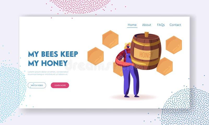 Landningssida för biodlingswebbplats Biodlare Character Holding Huge Barrel med honung Produktion av lantbruksgrödor stock illustrationer