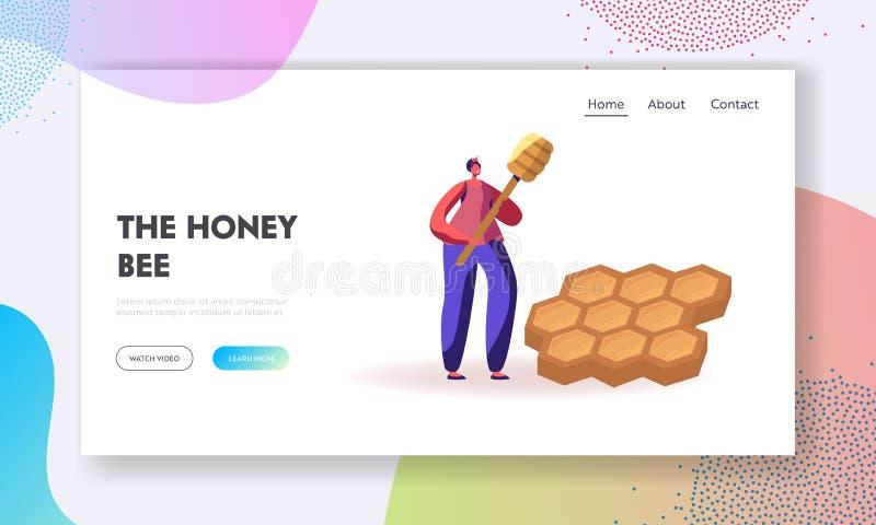 Landningssida för biodynamiska produktionswebbplatser Smilande Woman Farmer Holding Huge Honey Dipper Stående nära Honeycombi stock illustrationer