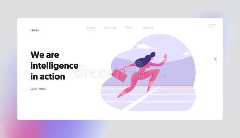 Landningssida för Business Marathon Challenge-webbplats Kvinna på Stadium Framgångsrik affärsman vektor illustrationer