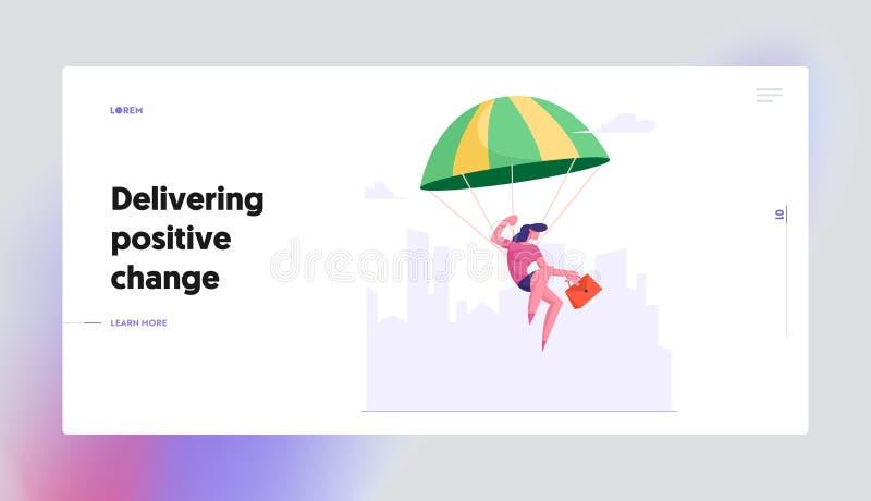 Landningssida för webbplats för prestationer och ledarskap Affärsdam med portföljen i Hand som flyger med Parachute royaltyfri illustrationer