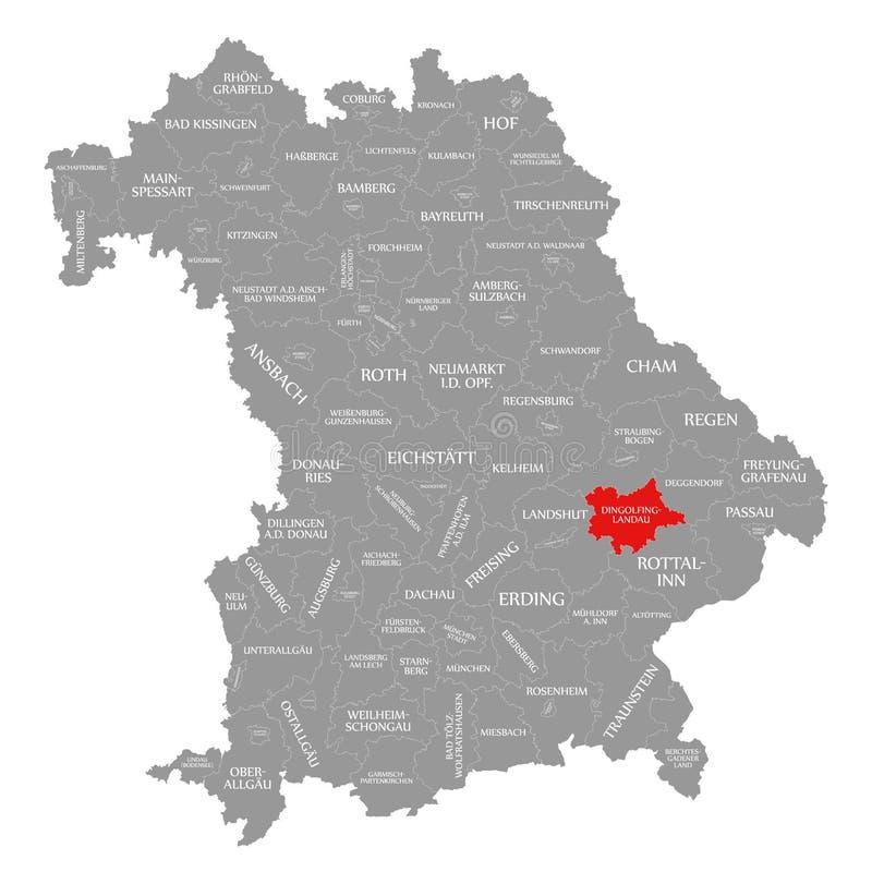 lando okręgu administracyjnego czerwień podkreślająca w mapie Bavaria Niemcy ilustracja wektor