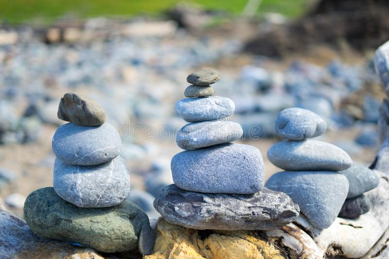 Stack of stones at beach. Lands End, San Francisco, United States: March 24, 2018 - A heart in the rock royalty free stock photos