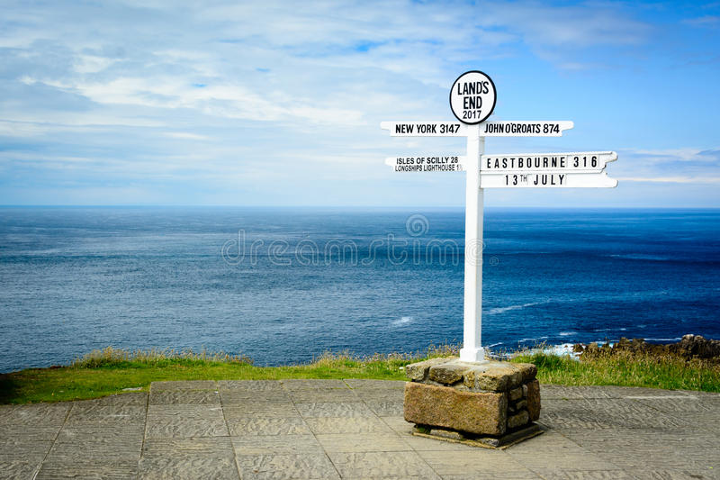 Lands End signpost. A signpost shows distances from Lands End - most notably across the Atlantic Ocean beyond the horizon at New York royalty free stock photo