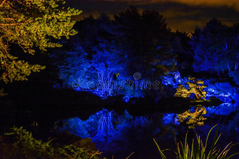 Landsacpe vago ai giardini di luce, Montreal, Canada immagine stock libera da diritti