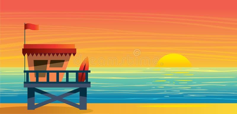 Landsape del verano - estación, mar y puesta del sol del salvavidas libre illustration