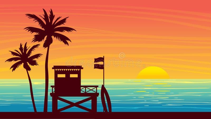 Landsape do verão - estação, mar, palma e por do sol da salva-vidas ilustração stock