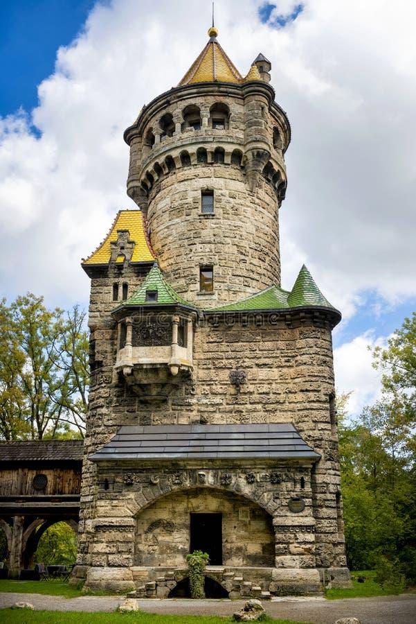 "Landsberg am Lech †""Mutterturm bavaria germany arkivbild"