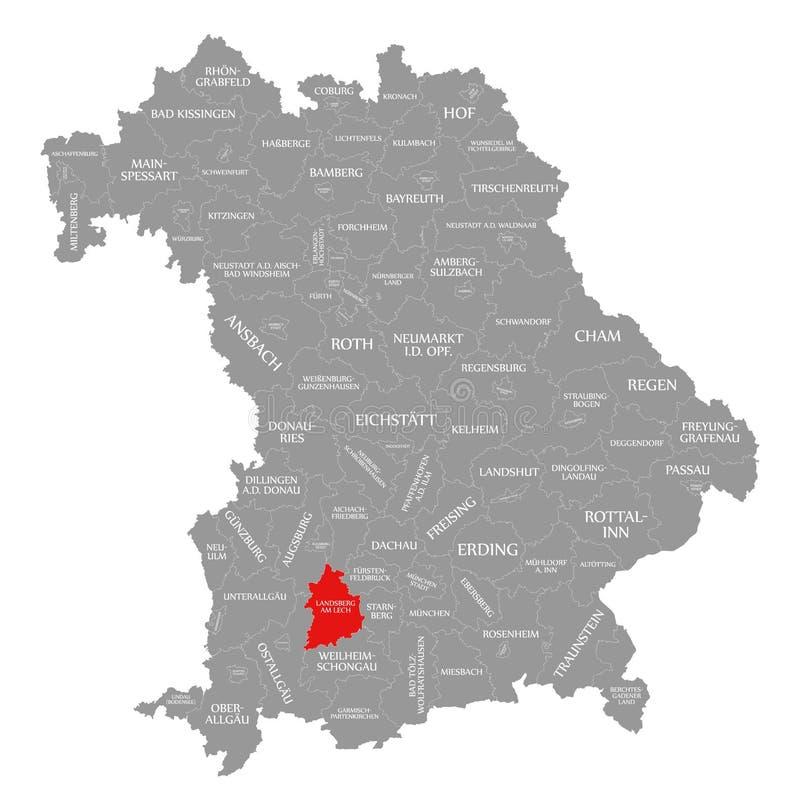 Landsberg Am Lech okręgu administracyjnego czerwień podkreślająca w mapie Bavaria Niemcy ilustracji