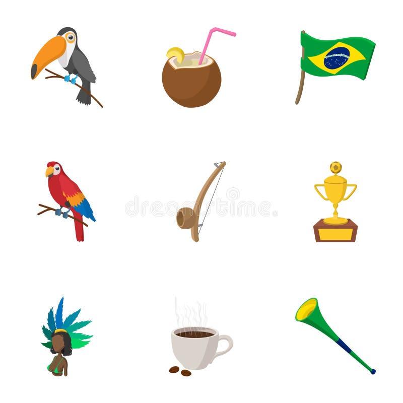 LandsBrasilien symboler uppsättning, tecknad filmstil stock illustrationer