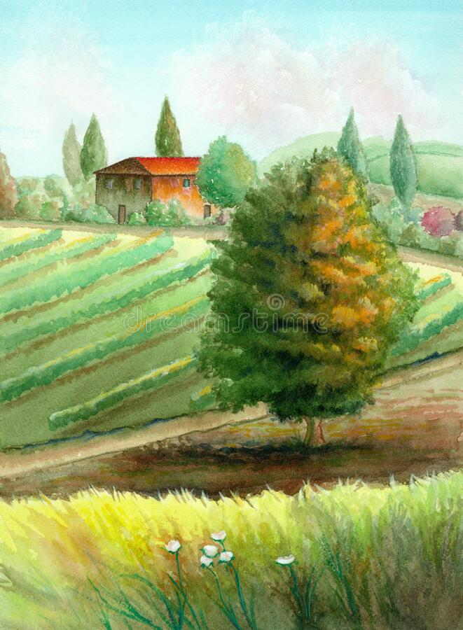Landsbygdslandskap med vattenfärg vektor illustrationer