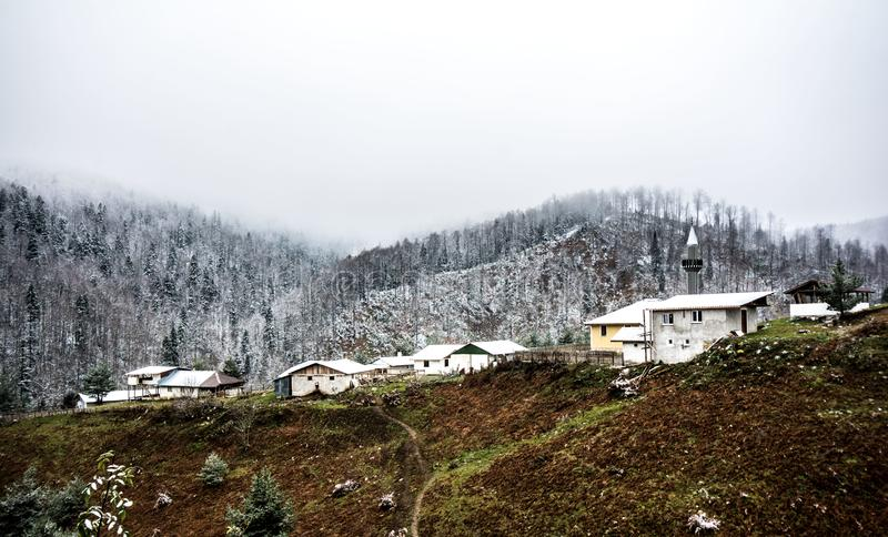 Landscaoe in winter and with snow royalty free stock image
