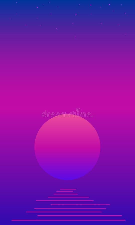 Landscaope psicadélico fantástico com lua, mar, estrelas no bacgtound brilhante da cor do inclinação Vintage do vetor colorido ilustração stock
