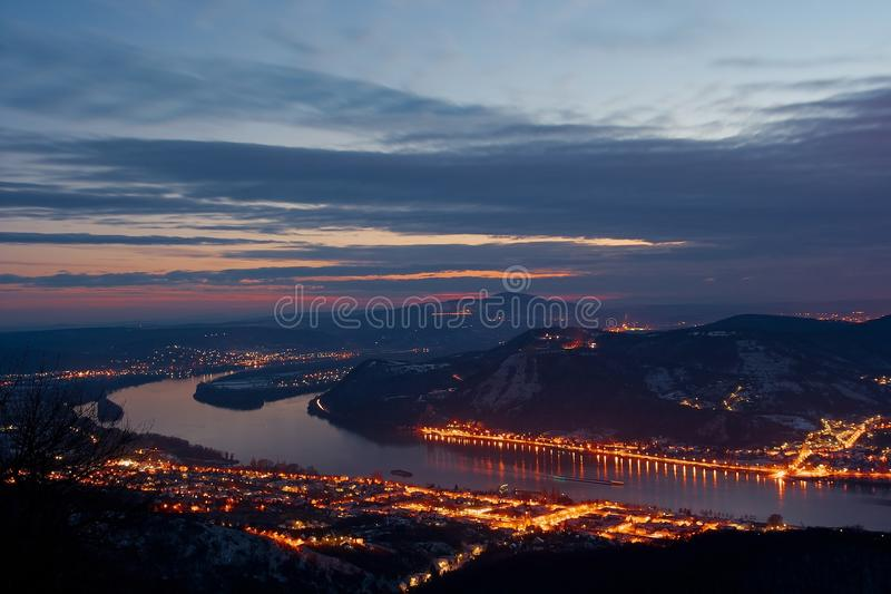 Landscape. In Hungary with the river Danube in the evening stock photo