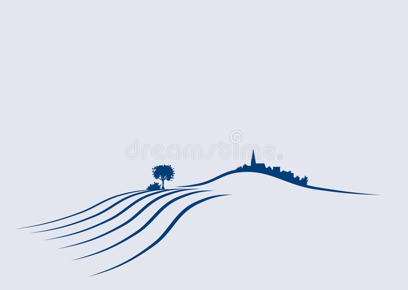 Landscape. Stylized illustration a an agricultural european landscape vector illustration