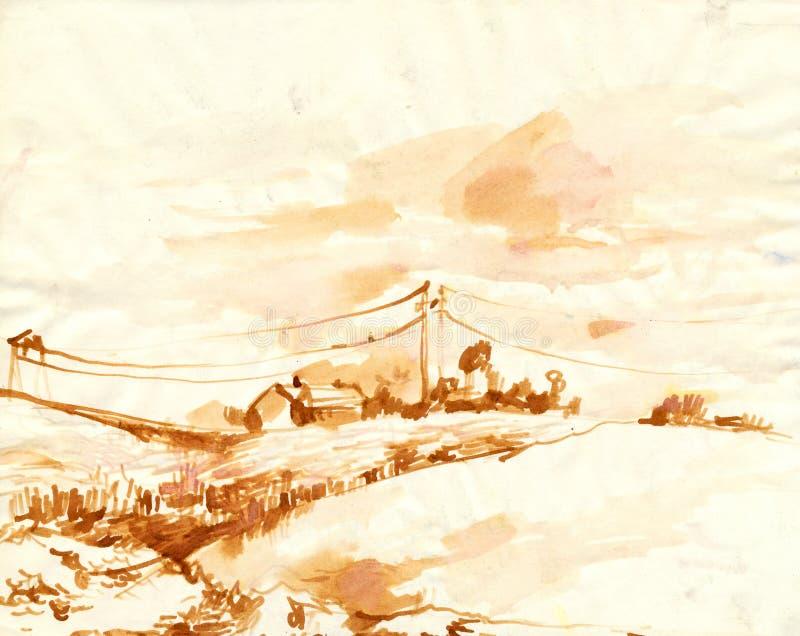 Download Landscape stock illustration. Illustration of draft, stroke - 24838155
