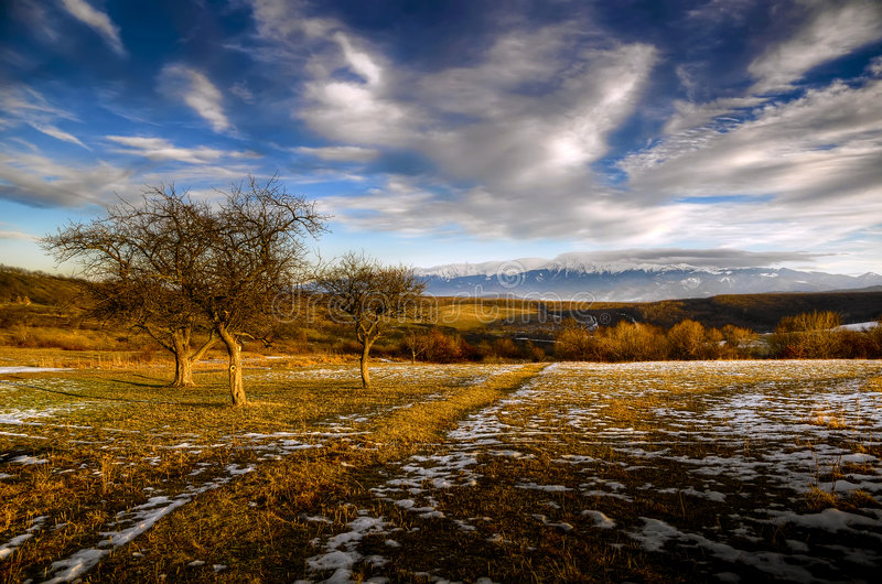 Landscape. With dramatic sky in transylvania, romania royalty free stock photography