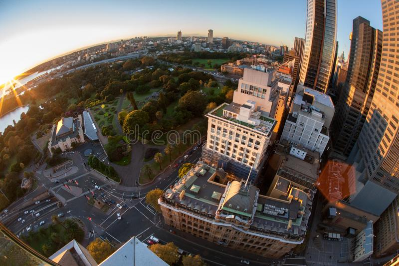 Landscape aerial picture of Sydney city CBD high rise building during sunrising, Australia royalty free stock image