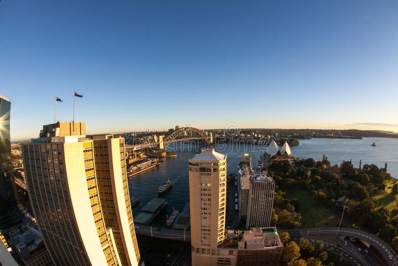 Landscape aerial picture of Sydney city CBD high rise building during sunrising, Australia   stock image