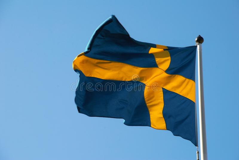 Landscape against the background of the Swedish flag royalty free stock photos