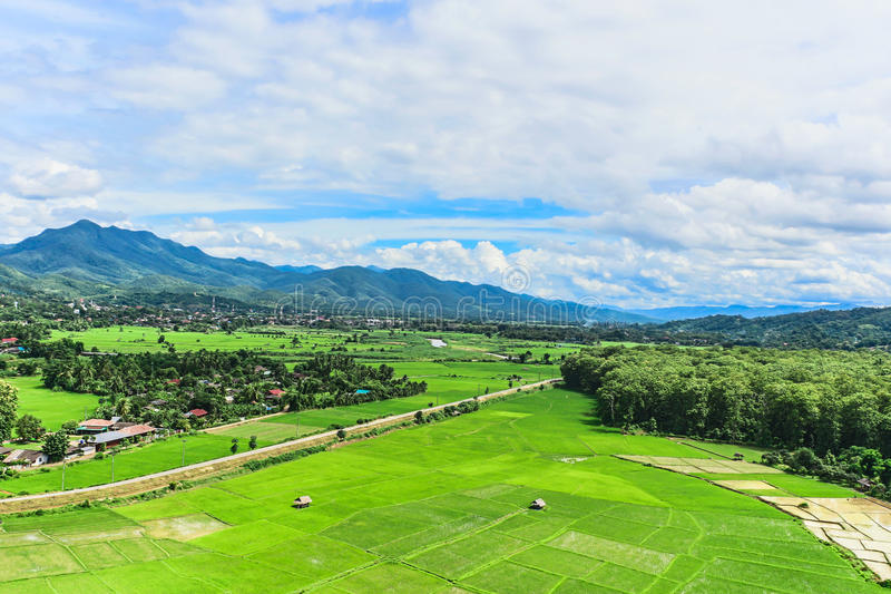 Landscape agriculture village. In the valley royalty free stock photography