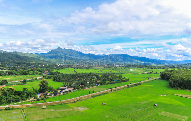 Landscape agriculture village. In the valley stock photo
