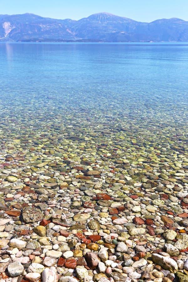 Landscape of Aigio beach Achaia Peloponnese Greece royalty free stock image