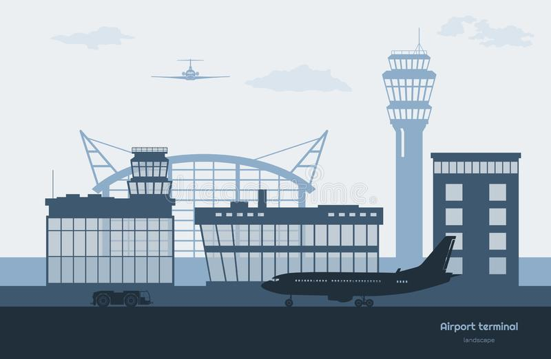 Landscape of airport. Transportation terminal silhouette. Airplane on aerodrome background. Aviation scene vector illustration