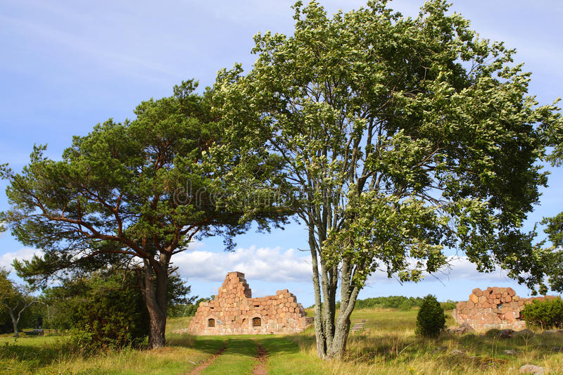 Landscape in Aland Islands with fortress ruins. Historical Russian stronghold ruins landscape in Bomarsund, Aland Islands stock images