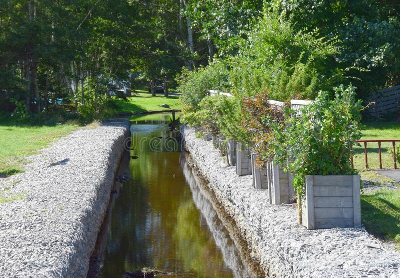Landscaped creek bed. Landscape along the the Baccalieu Trail; landscaped creek bed at Harbour Main-Chapel`s Cove-Lakeview NL, Canada stock photo