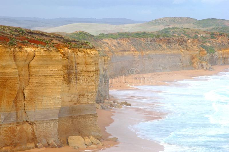 Landscape with cliffs in the mist, Great Ocean Road, Victoria, Australia. Great Ocean Road is one of the most beautiful roads along the ocean of the world. The royalty free stock images