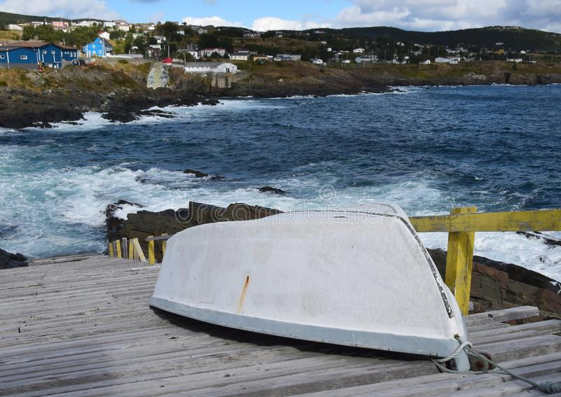 Pouch Cove village and dry dock stock photo